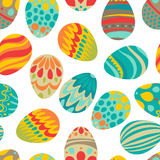 Happy Easter! Happy holiday eggs pattern, seamless background for your greeting card design. Cute decorated easter eggs Stock Photo