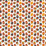 Happy Easter! Happy holiday eggs pattern, seamless background for your greeting card design. Cute decorated easter eggs Stock Photos