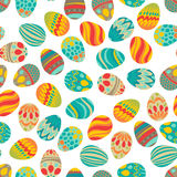 Happy Easter! Happy holiday eggs pattern, seamless background for your greeting card design. Cute decorated easter eggs Royalty Free Stock Photo