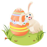 Happy easter hare. Vector illustration: hare with easter egg Stock Photos