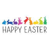Happy Easter Header with bunnies silhouettes. In rainbow colors.. Vector illustration Stock Photo