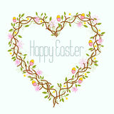 Happy Easter Heart Wreath Royalty Free Stock Images