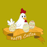 Happy Easter hen with eggs Stock Image
