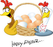 Happy easter - hen in love hold basket Stock Photo
