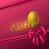 Happy Easter holiday background. Happy Easter glitter lettering with realistic 3D golden egg and purple bow. Luxury festive holiday background. Vector Stock Images