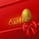 Happy Easter holiday background. Happy Easter glitter lettering with realistic 3D golden egg and red bow. Luxury festive holiday background. Vector illustration Stock Images