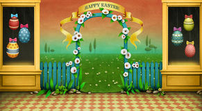 Happy Easter. Holiday background or greeting card , illustration or  poster showcase , arch and green landscape for Easter. Computer graphics Royalty Free Stock Photos