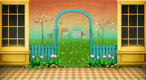 Happy Easter. Holiday background or greeting card , illustration or  poster showcase , arch and green landscape for Easter. Computer graphics Stock Image