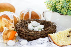 Happy Easter holiday beautiful composition. In rustic style Stock Photos