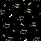 HAPPY EASTER TYPOGRAPHY. SEAMLESS PATTERN ELEGANT GOLDEN ART ON BLACK BACKGROUND. HAPPY EASTER HOLIDAY ON BLACK BACKGROUND. TYPOGRAPHIC TEXT. TITLE LETTERING Royalty Free Stock Photography