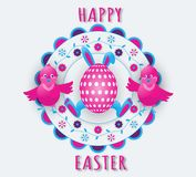 Happy Easter holiday with bunny ears and paws, an egg and two funny chickens on a colorful floral background. stock illustration