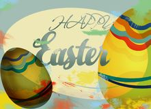 Happy Easter Holiday Card with Eggs Royalty Free Stock Photos