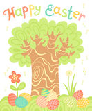 Happy Easter holiday card with a tree and painted eggs. Royalty Free Stock Photos