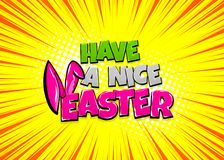 Happy Easter comic text pop art vintage poster. Happy Easter holiday comic text pop art advertise. Cute rabbit bunny ears comics book phrase. Vector colored Royalty Free Stock Photography