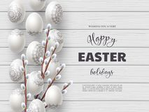 Happy Easter holiday composition. With Easter eggs and willow branches on white wooden background. Top view with greeting text. Vector illustration vector illustration