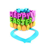 Happy Easter (holiday creative spring text concept). Magenta and green words, yellow and orange eggs, pink rabbit in the form of gift box with open blue ribbon Royalty Free Stock Photography