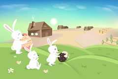 Happy Easter, holiday, cute white bunny playing on grass hill, egg hunt poster, agriculture landscape scene, rabbit kid cartoon stock illustration