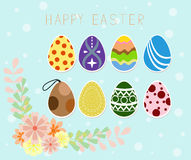 Happy easter holiday. Easter eggs. shining on blue background. Vector illustration. Happy easter greeting card. Set Stock Photos