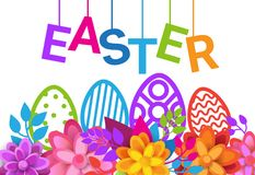 Happy Easter Holiday Greeting Card Decoration Banner Design With Eggs Over Flowers Background. Vector Illustration Royalty Free Stock Photos
