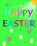 Happy Easter. Holiday Easter Greeting on green background with sunrays shining down surrounded by colorful daisies and dyed eggs Stock Images
