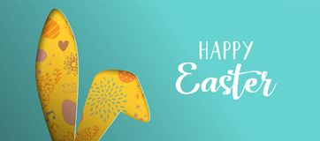 Happy Easter spring banner with cutout bunny ears. Happy Easter holiday illustration. Paper cut rabbit ear silhouette cutout with hand drawn eggs and spring Royalty Free Stock Image