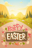 Happy Easter Holiday Mountain Nature Background Greeting Card. Flat Vector Illustration Royalty Free Stock Photography