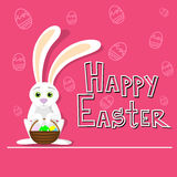 Happy Easter Holiday Rabbit Hold Basket With Colorful Egg Sketch Background Royalty Free Stock Photos