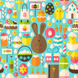 Happy Easter Holiday Vector Flat Blue Seamless Pattern Royalty Free Stock Photography