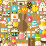 Happy Easter Holiday Vector Flat Light Brown Seamless Pattern. Happy Easter Holiday Light Brown Seamless Pattern. Flat Design Vector Illustration. Tile stock illustration