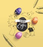 Happy Easter holiday wish surrounded by lovely baby bunnies, colorful decorative eggs, pen and pencil on yellow. Background. Vector illustration for print Stock Photography