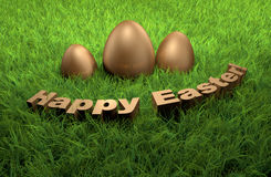 Happy Easter holidays greetings card 3D on grass. Happy Easter holidays greetings card. 3D golden letters rendered on grass Stock Photo