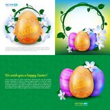 Happy Easter holidays vector set of greeting cards, posters or banners with colour painted eggs and spring flowers. Perfect to use for advertising design and Royalty Free Stock Photo