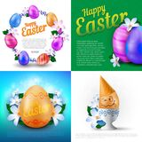 Happy Easter holidays vector set of greeting cards, posters or banners with colour painted eggs and spring flowers. Perfect to use for advertising design and Stock Image