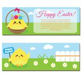 Happy Easter horisontal banners with cute cartoon chickens. Happy Easter horizontal banners with cute cartoon chickens. Seasonal design templates Stock Photo