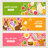 Happy Easter Horizontal Banners Set Royalty Free Stock Photo