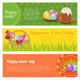 Happy Easter Horizontal Banners Set Stock Photo