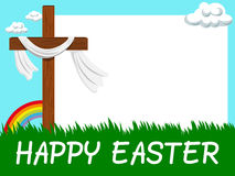 Happy Easter horizontal blank frame Christian cross in the meadow Stock Photography