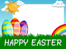 Happy Easter horizontal blank frame decorated eggs in the meadow Stock Photography