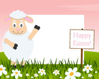 Happy Easter Horizontal Frame - Lamb royalty free stock photos