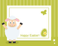 Happy Easter Horizontal Frame with Lamb Stock Images