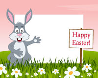 Happy Easter Horizontal Frame - Rabbit royalty free stock images
