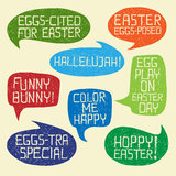 HAPPY EASTER humorous phrases on bubble speeches royalty free illustration