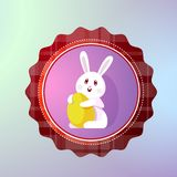 Happy Easter Icon With Cute Holiday Bunny Holding Egg Royalty Free Stock Photo