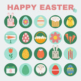 Happy Easter icon set. Royalty Free Stock Photos