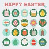 Happy Easter icon set. Royalty Free Stock Photos