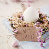 Happy Easter! III. Easternest with quail eggs and greeting card Stock Photo