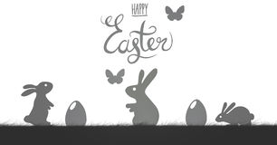 Happy Easter illustration with butterflys in  white background Royalty Free Stock Images