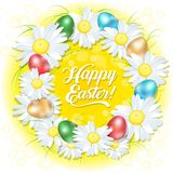 Happy Easter wreast. Illustration for Easter. Poster or postcard. Wreath of chamomiles and colored eggs. royalty free illustration