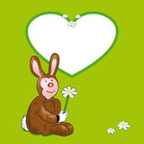 Happy Easter. An illustration of a hare with a flower for kids Stock Photography
