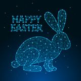 Happy Easter illustration made by polygonal wireframe mesh with low poly rabbit. Greeting card. Vector